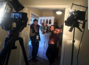 Dax Richardson and Sarah Kinsey rehearsing a scene with Edward Morris, sound person, popping in.