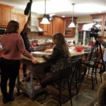 Sarah Kinsey and Rachel Korb rehearsing their scene, with Edward Morris, Sound, and Chris Esper, DP.